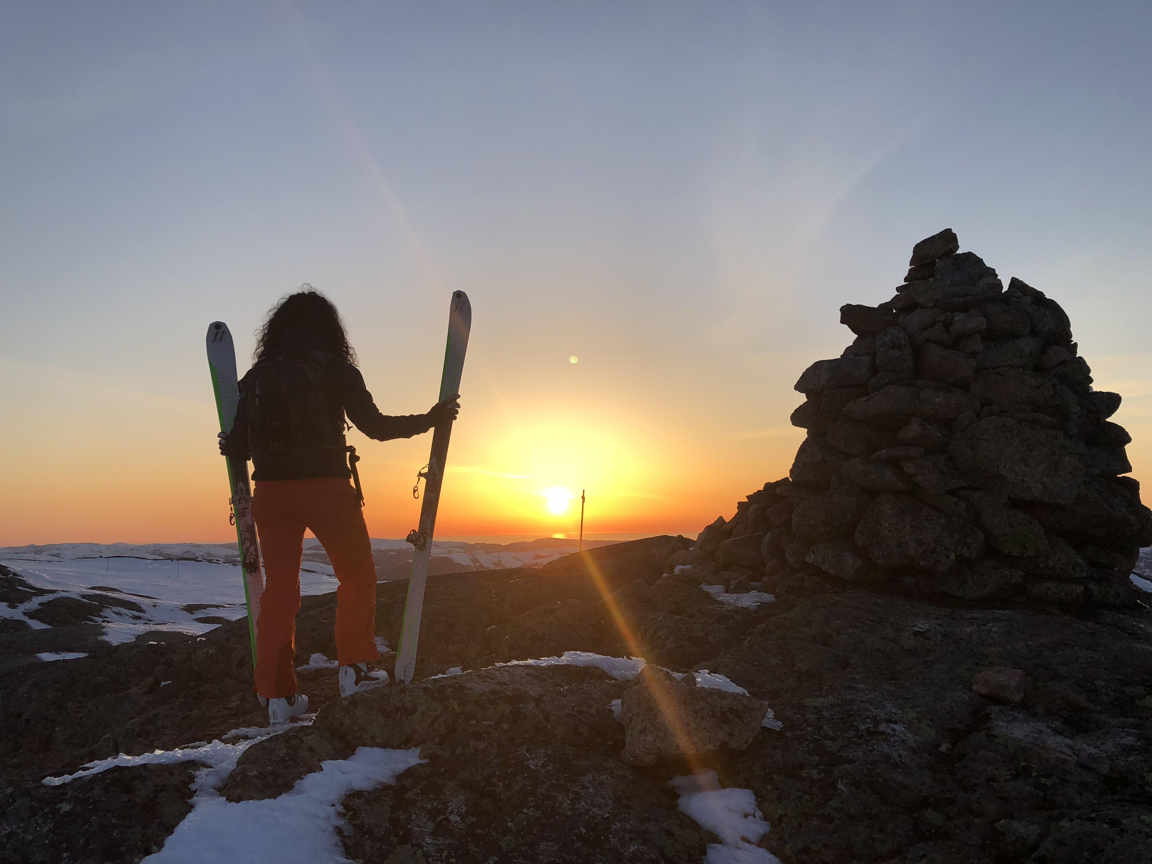 Ski touring during the winter in Namdalen. Hemna mountain.